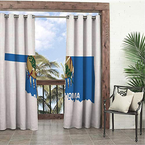 - Linhomedecor Garden Waterproof Curtains Oklahoma The Sooner State Flag as Map Native American Peace Pipe Olive Branch Osage Blue Multicolor doorways Grommet Printed Curtain 84 by 96 inch