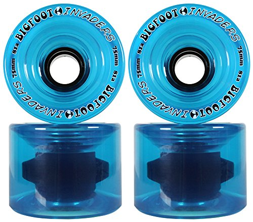 BIGFOOT LONGBOARD WHEELS 75mm 81a INVADERS BLUE Offset Downhill / Freeride