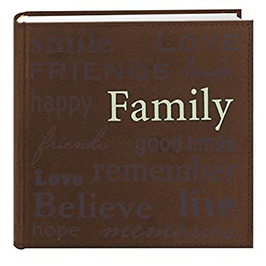 Pioneer  Family  Text Design Sewn Faux Suede Cover Photo Album, Brown