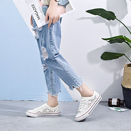 Cut Mesh Womens ZGR Shoes 2018 Lace Walking Sneaker Fashion Upper Knitted Canvas Low UPS Popular Casual wIw8qSd
