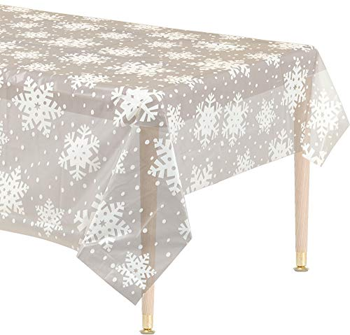 Amscan Clear Blue Christmas Snowflake Plastic Table Cover