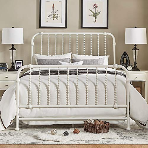(Inspire Q Gulliver Vintage Antique Spiral King Iron Metal Bed by Bold White Antique)