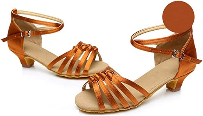 Color : A5, Size : 30 GJ New Girls Knotted 4.5 cm Mid-Heel Soft Latin Dance Shoes