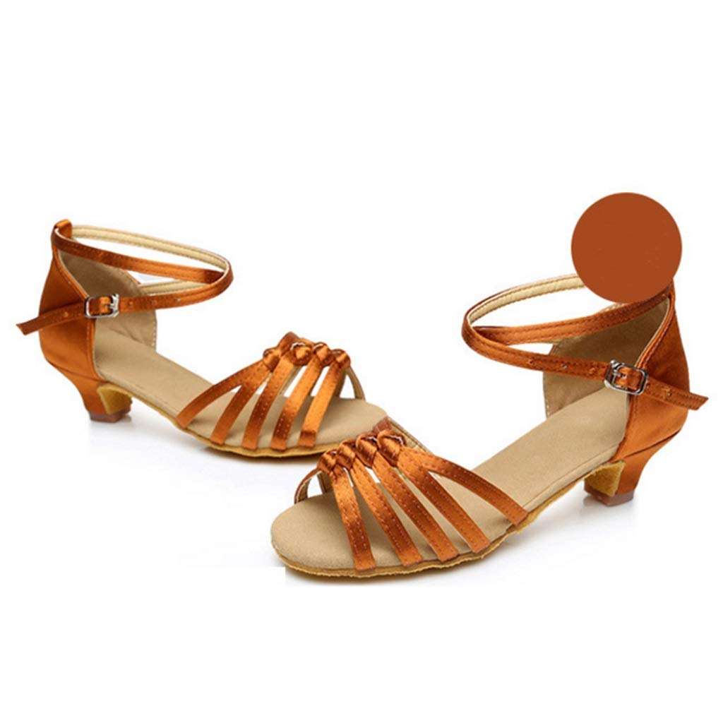 Color : A9, Size : 31 GJ New Girls Knotted 4.5 cm Mid-Heel Soft Latin Dance Shoes