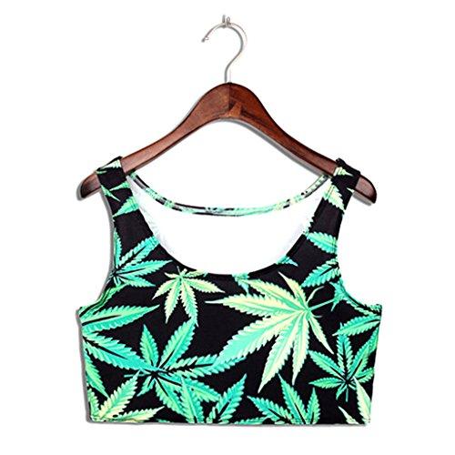 GreenLeaf Print Tank Tops Camisole Corsets Short Waistcoat Vest ()