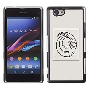 "For Xperia Z1 Compact D5503 Case , Pájaro Minimalista Gris Negro Posters"" - Diseño Patrón Teléfono Caso Cubierta Case Bumper Duro Protección Case Cover Funda"