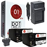 2x DOT-01 Brand 8550 mAh Replacement Canon BP-970G Batteries and Charger for Canon C100, C300, C500, GL1, GL2, XH A1, XH A1S, XH G1, XH H1, XL1, XL1S, XL2, XF200, XF20S, XF100, XF300, C100 MARK II, M32, M300, HFS21, HFG10, XA10, HFS30, HFG20 Camcorder and