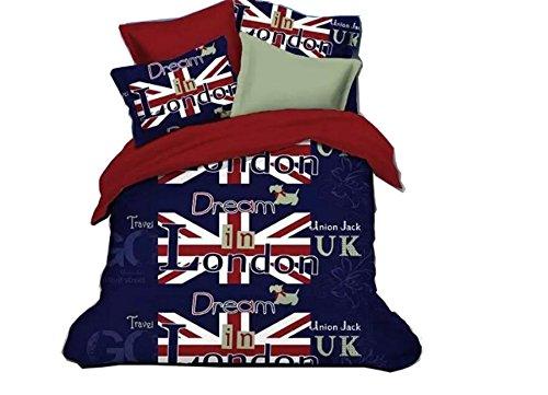 4 Piece Vintage Style Duvet Cover Sets, Luxury Soft, Twin Size (Union Jack) (Union Jack Bedding Twin compare prices)