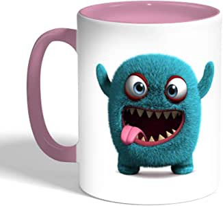 Printed Coffee Mug, Pink Color, Colorful Monster