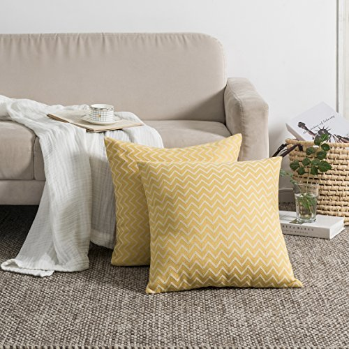 (KEYNOTES Throw Pillow Covers 18 x 18 for Couch Bed, [Set of 2] Yellow Accent Home Decorative Cushions Covers, Square Stripe Mustard Cotton Linen Throw Pillow Cases Shams with Zipper)