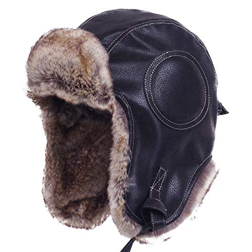 Janey&Rubbins Unisex Winter Knit Russian Ushanka Cossack Trapper Pilot Aviator Cap Hat (M, N - Black ()