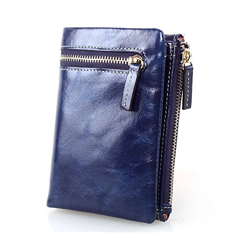 Myleas Women's Blue Compact Genuine Leather Wallet Bifold Short Mini Zipper Coin (Handbag Compact Zipper Wallet)