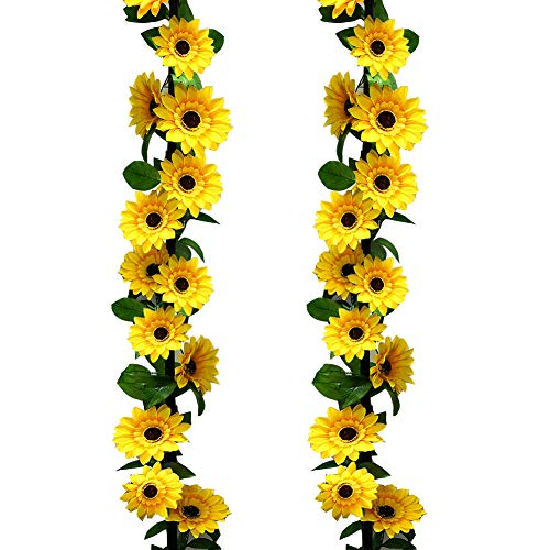 HEBE 2 Pack Artificial Sunflower Garland Plants in Yellow 14.6' Long Fake Sunflower Hanging Flowers Vine with Greenery Foliage for Indoor Outdoor Wedding Arch Kitchen Garden Home -