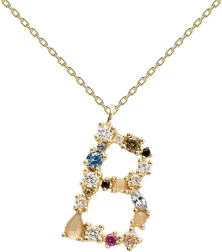 PDPAOLA - Collar Letra B - Plata de Ley 925 Bañada en Oro de 18k - Joyas para Mujer