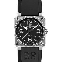 Bell & Ross Men's BR-03-92-STEEL Aviation Black Arabic Numberal Dial Watch Watch