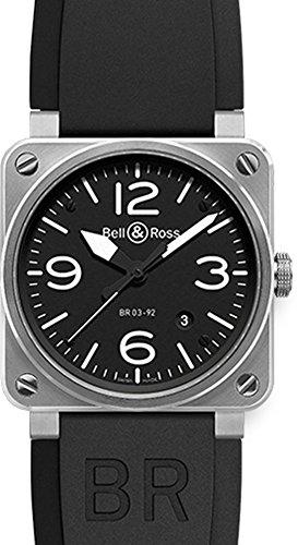 Bell-Ross-Mens-BR-03-92-STEEL-Aviation-Black-Arabic-Numberal-Dial-Watch-Watch