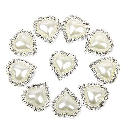 DierCosy 10 PCS 20 x 25mm delicate heart-shaped jewelry accessories rhinestone imitation pearl glue flat white