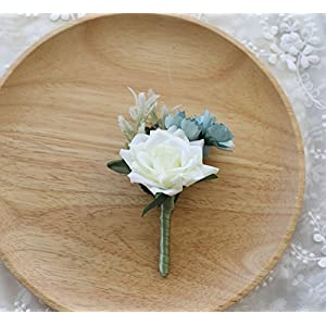 Prettybuy Boutonniere Brooch Flower Bridegroom Groom Men's Boutineer with Pin for Wedding, Prom, Homecoming 49