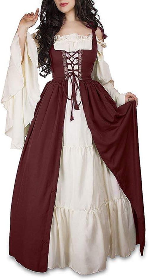 Guiran Vestido Vintage Mujer Medievales Disfraz Renacentista Cosplay de Halloween