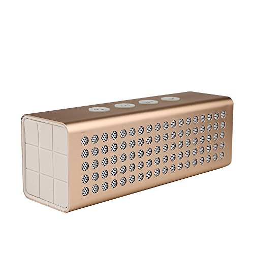 Bluetooth Wireless Speakers BAVISION 20W Compact & Rechargeable Portable Sound System User-Friendly & Compatible with All Devices – Handy Builtin Microphone – 15 Hours of Non-Stop Audio Golden (Highest Rated Portable Cd Players)