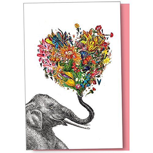 Tree-Free Greetings Eco Notes 12-Count Love Elephant Flower Blank Notecard Set With Envelopes, All Occasion, Floral (FS56864)