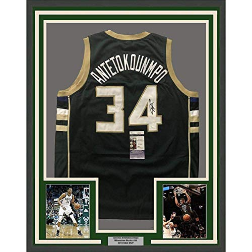 Framed Autographed/Signed Giannis Antetokounmpo 33x42 Milwaukee Green Custom Basketball Jersey JSA COA