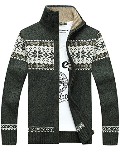 Yeokou Men's Casual Christmas Snowflake Full Zip Thick Knit Cardigan Sweaters