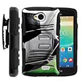 MINITURTLE Case Compatible w/ LG Tribute Case, Transpyre Cover, and F60 Full Protection Dual Layer Belt Clip Holster Soccer Art Soccer Ball Hitting Net