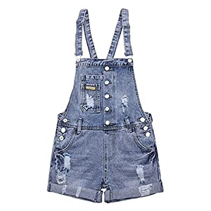 AvaCostume Womens Wash Jumper Denim Overall Shorts