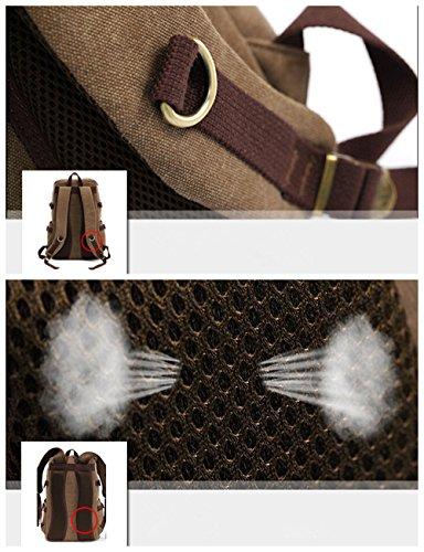 Neu Herren Damen Vintage Canvas Rucksack Retro Rucksack Vintage PU Leder für Outdoor Sports Rucksack Uni Rucksack Universität Größe: 30cm x 18cm x 45cm Grün gaQ6mF