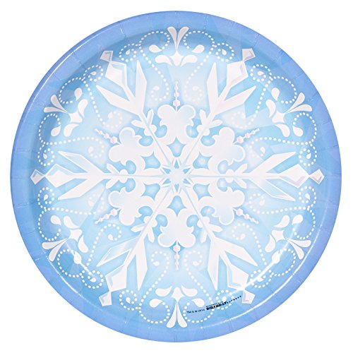 BirthdayExpress Snowflake Winter Wonderland Christmas Party Supplies - Dinner Plates (8) -