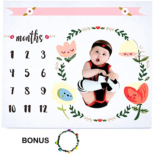 Hombae Baby Monthly Milestone Blanket :: Photo Props Shoots Backdrop for Newborn Boy & Girl, Infant Baby Swaddling Blanket, Photography Backdrop Accessories :: Baby Shower Gift, Bonus Floral Wreath