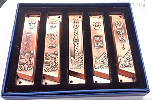 Set Of 5 Grafted Mezuzah From Jerusalem: Menorah, Shadai, Star Of David Lot