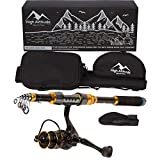 High Altitude Lightweight 6 Foot Telescopic Fishing Pole, Backpacking Travel Case and Abu Garcia Spinning Reel Combo, Highly Portable Hiking or Travel Gear, Collapsible Poles