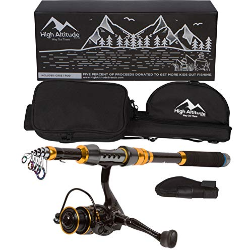 High Altitude Lightweight 6.5 Foot Telescopic Fishing Pole with Backpacking Case and Abu Garcia...