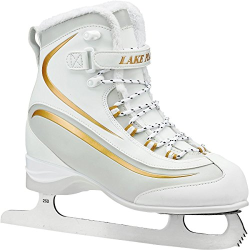 Lake Placid Everest Women's Soft Boot Figure Ice Skate, White/Gold, Size 8