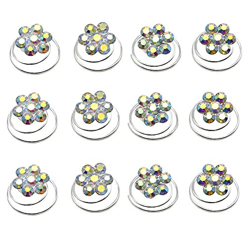 Newstarfactory Rhinestone Studded Collection Flower Spiral Hair Pin Pack of 12 with Exclusive Gift (Colored)