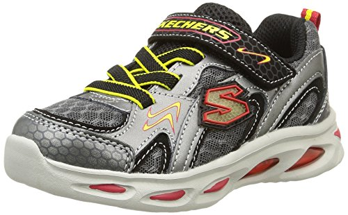 Skechers Infant/Toddler Boys' S Lights Ipox Rayz,Silver/Red,US 10 M