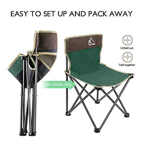Terra Hiker Portable Chair, Camping Chair, Beach Chair with Mesh Pocket and Carry Bag, 14.4 x 14.4 x 22.6 in (37 x 37 x 58 cm), for Kids
