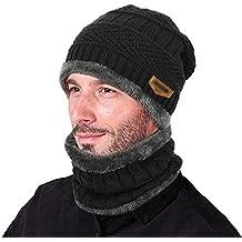 VBIGER 2-Pieces Winter Beanie Scarf Set Warm Hat Thick Knit Skull Cap for Men Women, One Size, Black
