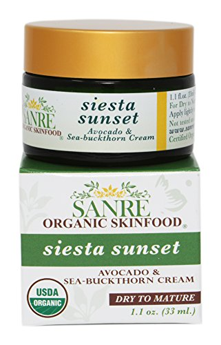 SanRe Organic Skinfood - Siesta Sunset - 100% USDA Organic Beneficial Avocado & Praised Sea-Buckthorn Cream For Dry to Mature Skin