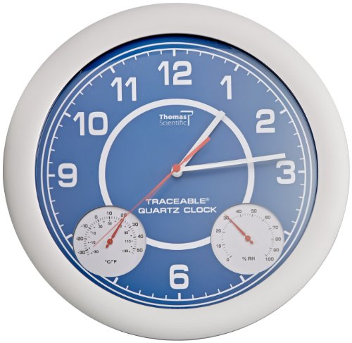 Thomas 1071 Traceable Clock with Thermometer and Humidity, 12-1 2 Diameter, 10 to 130 degree F, -20 to 55 degree C
