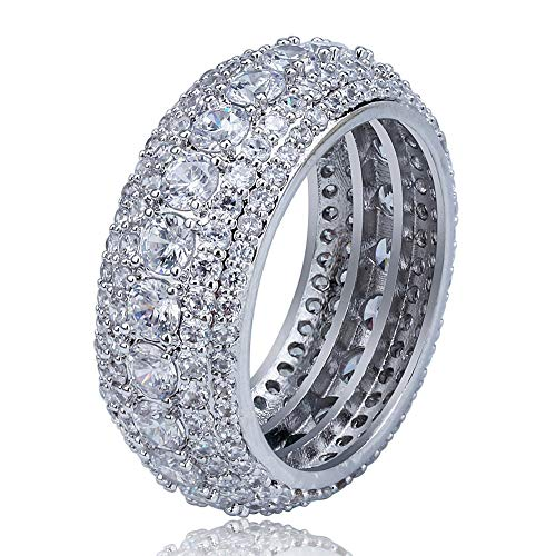 - Five Rows of Diamond Ring Gold Silver for Men Women Copper Fashion Style