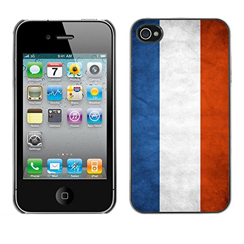 Omega Case PC Polycarbonate Cas Coque Drapeau - Apple iPhone 4 / 4S ( Netherlands Grunge Flag )