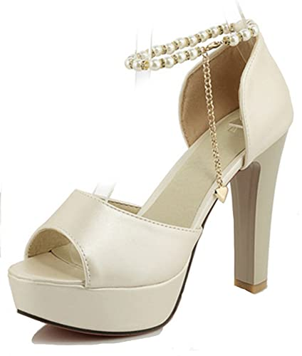 Aisun Damen Sexy Kunstlich Perlen Metallic Kette Peep Toe Plateau Trichterabsatz Sandalen Weiß 34 EU ZJTjqfevP