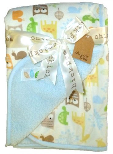"Chick Pea 30"" x 30"" Microfleece Animal-Pattern Blue & Ivory Blanket by Cutie Pie Baby"
