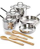 The Martha Stewart Collection - Premium Quality - 12 Piece Complete Cookware Set Including Real Bamboo Utensils (High Quality Highly Polished 12 Piece Stainless Steel Set With Real Bamboo Untensils)