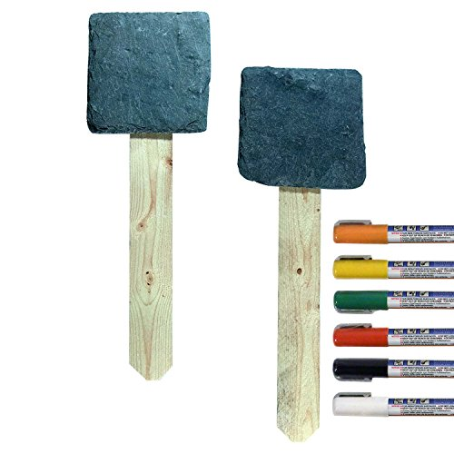 Cohas Slate Garden Stakes includes Liquid Chalk Markers and 2 Mounted Slate and Wood Stakes, Fine Tip, 6 Marker Kit