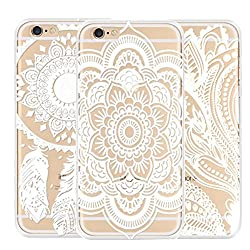 iPhone 6 Plus Case,LUCHENG 3PC Henna Floral Paisley Flower Case for iPhone 6 Plus [Clear ]Hard Case Cover Skin for iphone 6 plus 5.5''