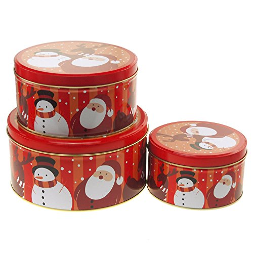 Tin Cookie Snowman (Homeford Christmas Cookie Tin Round Containers with Santa and Snowman, 3 Size, Red)
